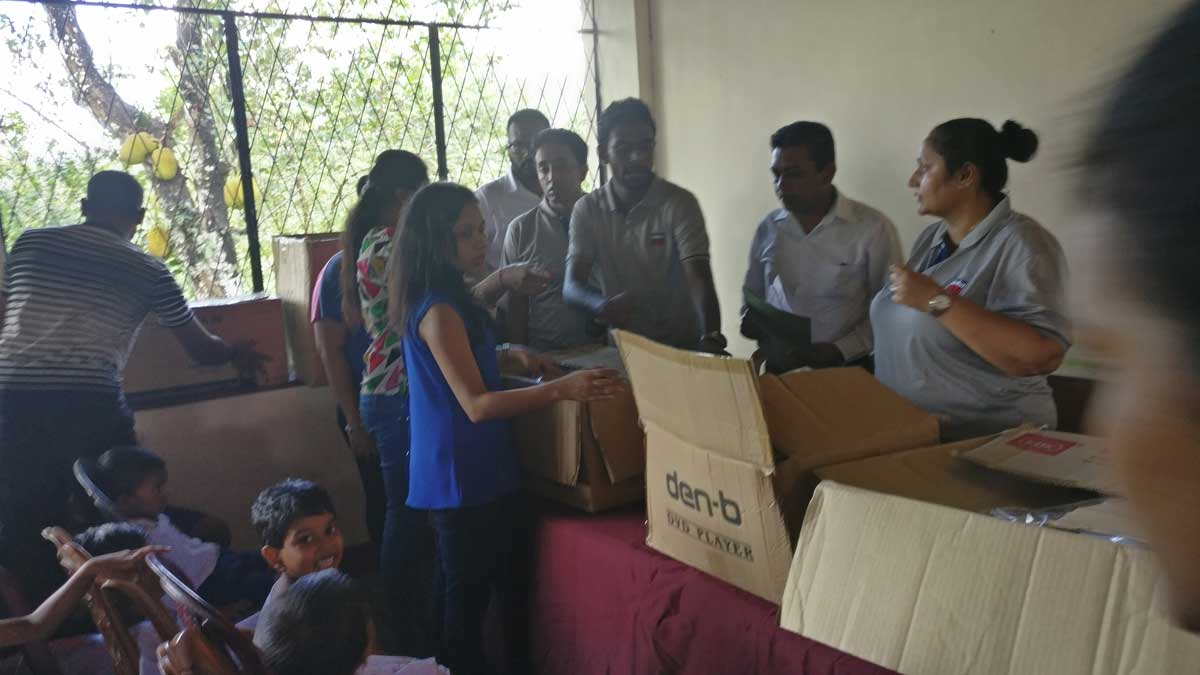 Donating stationary and other essentials to Chandrasekara Special Children's School, Moratuwa